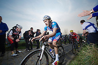 Laurens De Vreese (BEL/Wanty-GroupeGobert) up the Paterberg cobbles<br /> <br /> 57th E3 Harelbeke 2014