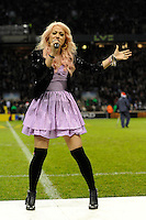 Amelia Lily from the X Factor entertains fans during half time of the Aviva Premiership match between Harlequins and Saracens at Twickenham on Tuesday 27 December 2011 (Photo by Rob Munro)