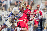 Costa Mesa, CA 03/08/14 - Walt Rooney (Denver #13) and Westy Hopkins (Notre Dame #12) in action during the Notre Dame Irish and Denver Pioneers NCAA Men's lacrosse game at LeBard Stadium in Costa Mesa, California as part of the 2014 Pacific Coast Shootout.  Denver defeated Notre Dame 10-7 in front of a crowd of over 5800 spectators.