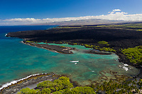 An aerial view of Kiholo Bay, a snorkeling and wildlife viewing area that was once a fishpond, in Kona, Big Island of Hawai'i.