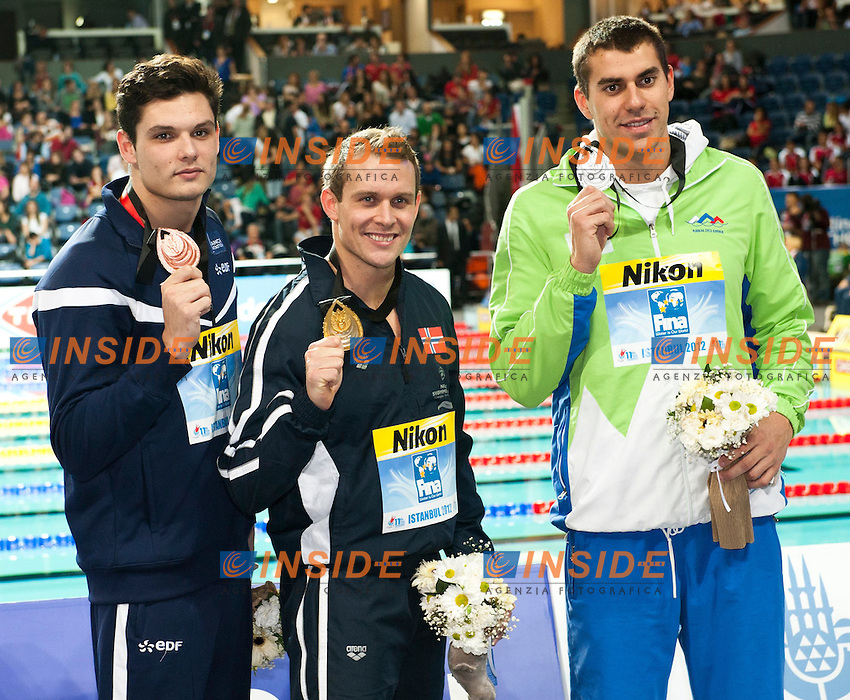 Hetland Aleksander Rognerud  NOR  Gold Medal.Dugonjic Damir  SLO   Silver Medal.Manaudou Florent  FRA   Bronze Medal.Men 50m Breaststroke    final.FINA World Short Course Swimming Championships.Istanbul Turkey 12 - 16 Dec. 2012.Day 05.Photo G.Scala/Deepbluemedia/Inside