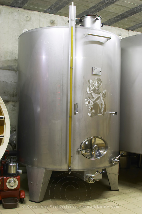 decorated stainless steel tank domaine fussiacus macon burgundy france