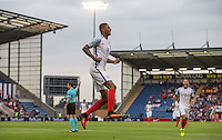 Marcus Rashford (Manchester United) celebrates scoring his goal 1 0 during the International EURO U21 QUALIFYING - GROUP 9 match between England U21 and Norway U21 at the Weston Homes Community Stadium, Colchester, England on 6 September 2016. Photo by Andy Rowland / PRiME Media Images.