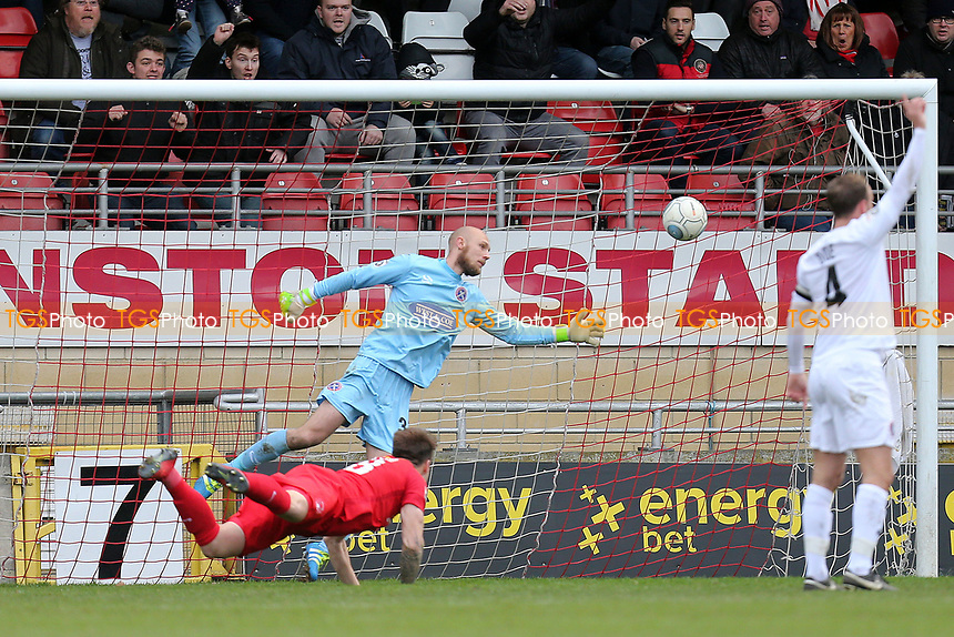 Josh Coulson of Leyton Orient scores the opening goal during Leyton Orient vs Dagenham & Redbridge, Vanarama National League Football at the Matchroom Stadium on 26th December 2017
