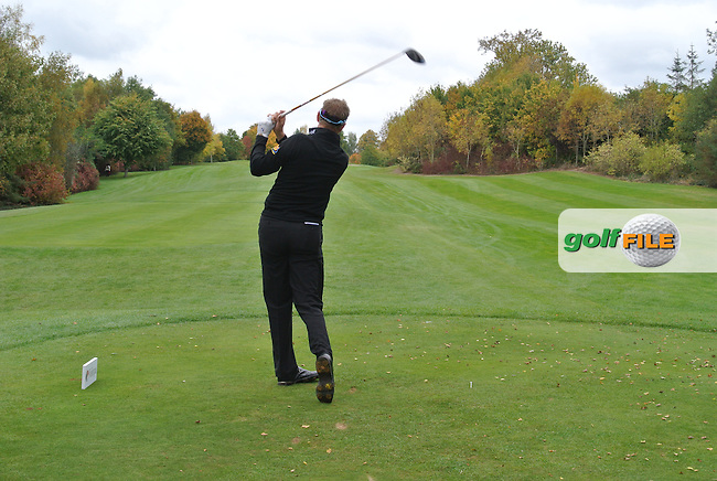 Simon Wakefield (ENG) on the 15th tee during Round 3 of the Volopa Irish Challenge in Tullow, Co. Carlow on Saturday 10th October 2015.<br /> Picture:  Thos Caffrey / www.golffile.ie