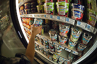 Ben & Jerry's ice cream is seen in a freezer in a supermarket in New York on Thursday, September 13, 2012. (© Richard B. Levine)