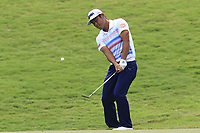 Hideto Tanihara (JPN) chips onto the 18th green during Saturday's Round 3 of the 2017 PGA Championship held at Quail Hollow Golf Club, Charlotte, North Carolina, USA. 12th August 2017.<br /> Picture: Eoin Clarke | Golffile<br /> <br /> <br /> All photos usage must carry mandatory copyright credit (&copy; Golffile | Eoin Clarke)