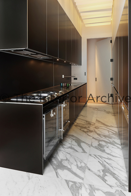 A pale coloured marble flooring with a diagonal grain helps make this narrow kitchen space appear wider