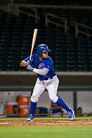 AZL Cubs first baseman Luis Hidalgo (18) at bat against the AZL White Sox on August 13, 2017 at Sloan Park in Mesa, Arizona. AZL White Sox defeated the AZL Cubs 7-4. (Zachary Lucy/Four Seam Images)
