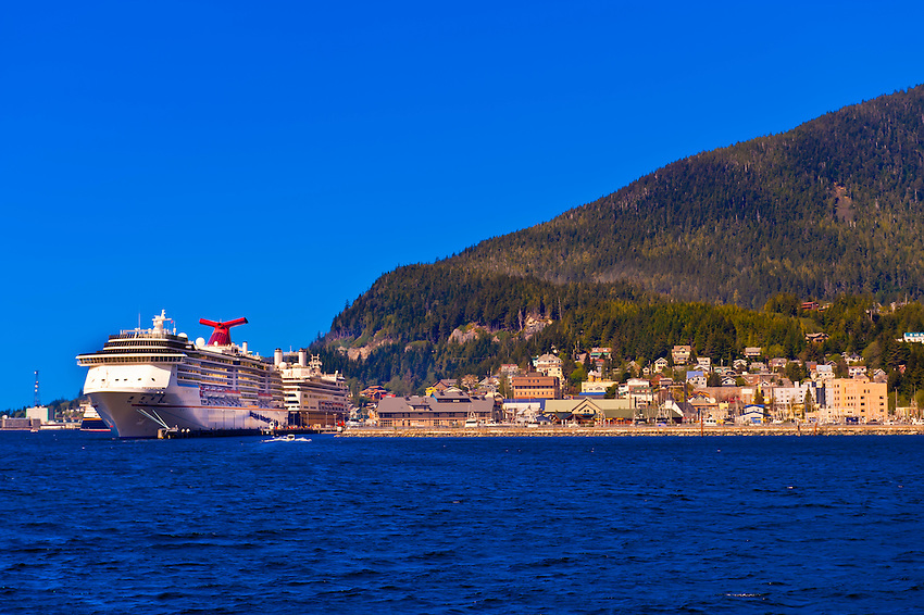 "Cruise ships Carnival Spririt and Holland America ""Amsterdam"" docked in Ketchikan, Southeast Alaska USA"