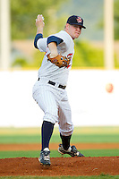 Starting pitcher Logan Darnell #20 of the Elizabethton Twins in action against the Greeneville Astros at Joe O'Brien Field August 15, 2010, in Elizabethton, Tennessee.  Photo by Brian Westerholt / Four Seam Images