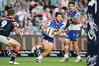 Mason Lino on attack. Sydney Roosters v Vodafone Warriors, NRL Rugby League. Allianz Stadium, Sydney, Australia. 31st March 2018. Copyright Photo: David Neilson / www.photosport.nz