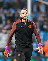 Goalkeeper Angus Gunn of Manchester City before the UEFA Champions League GROUP match between Manchester City and Celtic at the Etihad Stadium, Manchester, England on 6 December 2016. Photo by Andy Rowland.