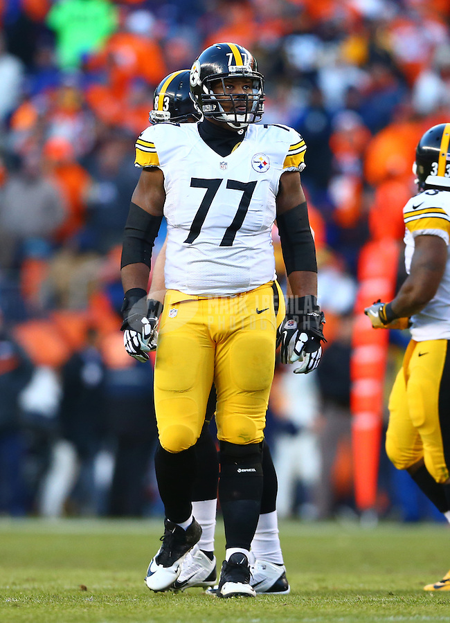 Jan 17, 2016; Denver, CO, USA; Pittsburgh Steelers offensive tackle Marcus Gilbert (77) against the Denver Broncos during the AFC Divisional round playoff game at Sports Authority Field at Mile High. Mandatory Credit: Mark J. Rebilas-USA TODAY Sports
