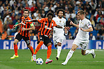Real Madrid´s Toni Kroos and Shakhtar Donetsk´s Fred during Champions League soccer match between Real Madrid and Shakhtar Donetsk at Santiago Bernabeu stadium in Madrid, Spain. Spetember 15, 2015. (ALTERPHOTOS/Victor Blanco)