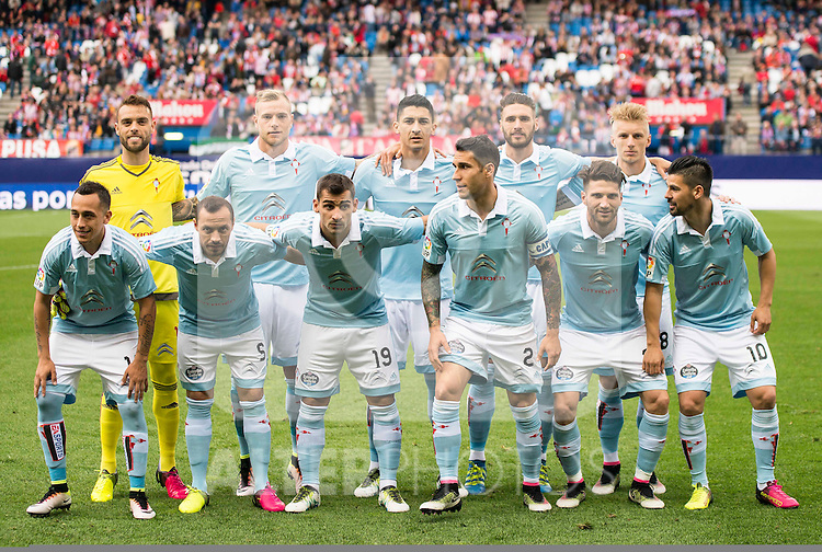 Celta de Vigo's players during La Liga Match at Vicente Calderon Stadium in Madrid. May 14, 2016. (ALTERPHOTOS/BorjaB.Hojas)
