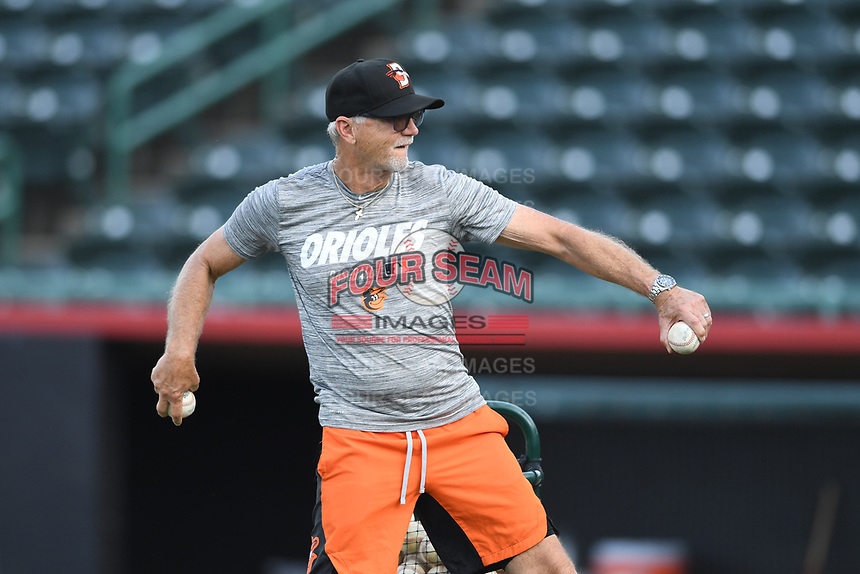 Delmarva Shorebirds hitting coach Dan Radison throws batting practice prior to game one of the Northern Division, South Atlantic League Playoffs against the Hickory Crawdads at L.P. Frans Stadium on September 4, 2019 in Hickory, North Carolina. The Crawdads defeated the Shorebirds 4-3 to take a 1-0 lead in the series. (Tracy Proffitt/Four Seam Images)