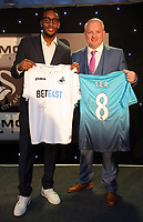 Pictured L-R: Leroy Fer with his sponsor Wednesday 18 May 2017<br />Re: Swansea City FC, Player of the Year Awards at the Liberty Stadium, Wales, UK.