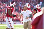 Wisconsin Badgers strength and conditioning coach Shaud Williams celebrates a touchdown by linebacker T.J. Edwards (53) during an NCAA Big Ten Conference football game against the Maryland Terrapins Saturday, October 21, 2017, in Madison, Wis. The Badgers won 38-13. (Photo by David Stluka)