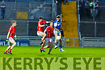 Barry John Keane of Kerins O'Rahillys and Shane Courtney of East Kerry jump for possession in the County Football Championship 3rd round on Saturday.
