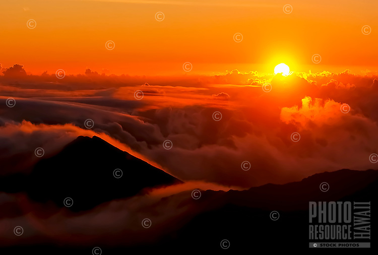 Sunrise at 9,745 feet in Haleakala National Park, Maui.