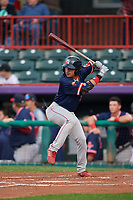 Portland Sea Dogs Jeremy Rivera (5) at bat during an Eastern League game against the Erie SeaWolves on June 17, 2019 at UPMC Park in Erie, Pennsylvania.  Portland defeated Erie 6-3.  (Mike Janes/Four Seam Images)