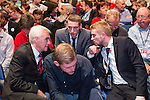 © Joel Goodman - 07973 332324 . 28/09/2016 . Liverpool , UK . JOHN MCDONNELL , TOMMY CORBYN , SEB CORBYN and BEN CORBYN sit for the Leader's Speech at the close of the final day of the Labour Party Conference at the ACC in Liverpool . Photo credit : Joel Goodman