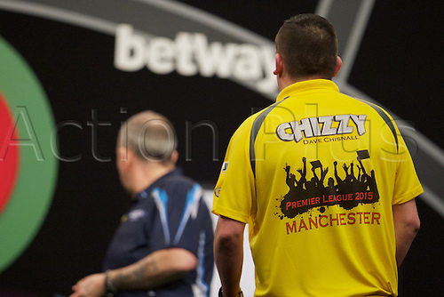 2.04.2015.  Manchester, England. Betway Premier League Darts. Judgement Night. The shirt of Dave Chisnall.