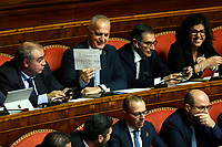 Senatore of Lega showing a sheet, the Count Pinocchio<br /> Rome December 12th 2019. Speech of the Italian Premier about MES, European Stability Mechanism.<br /> Foto Samantha Zucchi Insidefoto
