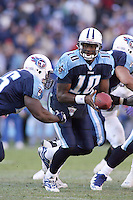 Titans quarterback Vince Young hands off in the third quarter at LP Field in Nashville, Tennessee on November 12, 2006. The Baltimore Ravens won 27-26.