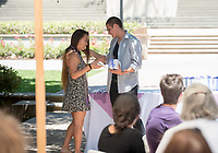 Lavender (LGBTQIA+) Graduation Celebration in the Academic Quad, May 19, 2017.<br /> Cultural Graduation Celebrations are an opportunity for smaller groups to come together and acknowledge students' accomplishments with family and friends while celebrating the rich diversity of our campus. The Office of Intercultural Affairs partners with cultural organizations to coordinate the events.<br /> (Photo by Marc Campos, Occidental College Photographer)