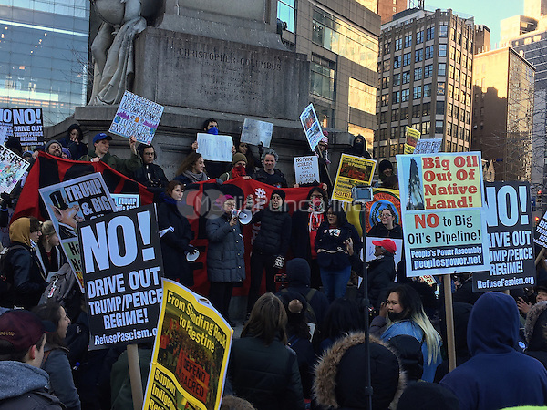 NEW YORK, NY - MARCH 4:  Protesters rally against the construction of the Dakota Access Pipeline in front of the statue of Christopher Columbus in Columbus Circle and the Trump International Hotel in New York, New York on March 4, 2017.  Photo Credit: Rainmaker Photo/MediaPunch