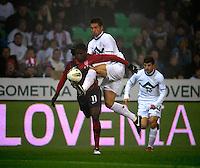 Edson Buddle (l, USA) against Bostjan Cesar (r, SLO) during the friendly match Slovenia against USA at the Stozice Stadium in Ljubljana, Slovenia on November 15th, 2011.
