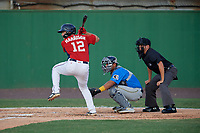 Potomac Nationals KJ Harrison (12) at bat in front of catcher Miguel Amaya and umpire Josh Gilreath during a Carolina League game against the Myrtle Beach Pelicans on August 14, 2019 at Northwest Federal Field at Pfitzner Stadium in Woodbridge, Virginia.  Potomac defeated Myrtle Beach 7-0.  (Mike Janes/Four Seam Images)