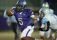 NWA Democrat-Gazette/CHARLIE KAIJO Fayetteville High School quarterback Darius Bowers (5) runs the ball during a playoff football game on Friday, November 10, 2017 at Fayetteville High School in Fayetteville.