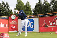 Matthew Fitzpatrick (ENG) tees off the 14th tee during Sunday's Final Round of the 2017 Omega European Masters held at Golf Club Crans-Sur-Sierre, Crans Montana, Switzerland. 10th September 2017.<br /> Picture: Eoin Clarke | Golffile<br /> <br /> <br /> All photos usage must carry mandatory copyright credit (&copy; Golffile | Eoin Clarke)