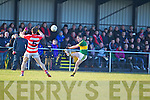 Mikey Geaney  Kerry in action against Rory O'Sullivan Cork IT in the semi final of the McGrath Cup at John Mitchells Grounds on Sunday.