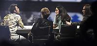 Milano 02/11/2017 - trasmissione Tv  X-Factor foto Daniele Buffa/Image/Insidefoto <br /> nella foto: Federico Lucia Fedez-Mara Maionchi-Claudia Lagona Levante-Manuel Agnelli