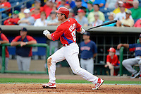 Philadelphia Phillies second baseman Chase Utley #26 hits a two run home run during a Spring Training game against the Boston Red Sox at Bright House Field on March 24, 2013 in Clearwater, Florida.  Boston defeated Philadelphia 7-6.  (Mike Janes/Four Seam Images)