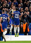 Chelsea's Cesar Azpilicueta celebrates scoring his sides third goal with Alvaro Morata during the champions league match at Stamford Bridge Stadium, London. Picture date 12th September 2017. Picture credit should read: David Klein/Sportimage