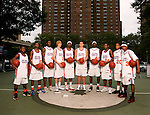"""The Goat"" squad on September 1, 2006 at Rucker Park in New York, New York.  Pictured left to right are Erving Walker, Dexter Strickland,  Rick Jackson, Kyle Singler, Donte Greene, Kevin Love, J.J. Hickson, Corey Stokes, Chris Allen and Brandon Jennings.  The players were in town for the Elite 24 Hoops Classic, which brought together the top 24 high school basketball players in the country regardless of class or sneaker affiliation."