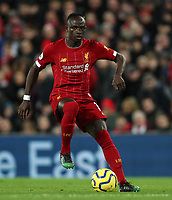 2nd January 2020; Anfield, Liverpool, Merseyside, England; English Premier League Football, Liverpool versus Sheffield United; Sadio Mane of Liverpool holds up the ball as Liverpool attack - Strictly Editorial Use Only. No use with unauthorized audio, video, data, fixture lists, club/league logos or 'live' services. Online in-match use limited to 120 images, no video emulation. No use in betting, games or single club/league/player publications