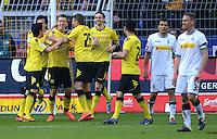 Fussball 1. Bundesliga :  Saison   2010/2011   32. Spieltag  21.04.2012 Borussia Dortmund - Borussia Moenchengladbach Jubel nach dem Tor zum 1:0, Shinji Kagawa, Ivan Perisic , Lukasz Piszczek (v. li., Borussia Dortmund)