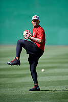 Chattanooga Lookouts pitcher Fernando Romero (31) warms up before a game against the Jackson Generals on April 27, 2017 at The Ballpark at Jackson in Jackson, Tennessee.  Chattanooga defeated Jackson 5-4.  (Mike Janes/Four Seam Images)