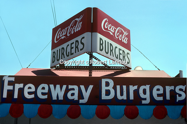 Hamburger stand near freeway entrance in Los Angeles, CA