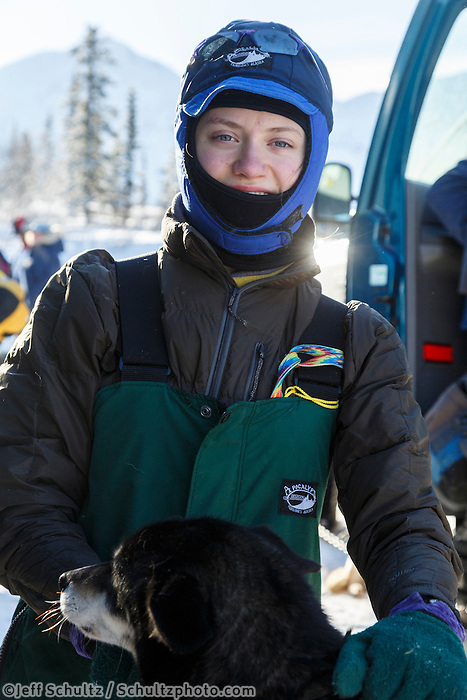 2015 Junior Iditarod musher at the staging area along the Denali Highway. <br /> <br /> <br /> <br /> (C) Jeff Schultz/SchultzPhoto.com - ALL RIGHTS RESERVED<br />  DUPLICATION  PROHIBITED  WITHOUT  PERMISSION