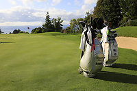 Bling bags at the 5th green during Tuesday's Practice Day of The Evian Championship 2017, the final Major of the ladies season, held at Evian Resort Golf Club, Evian-les-Bains, France. 12th September 2017.<br /> Picture: Eoin Clarke | Golffile<br /> <br /> <br /> All photos usage must carry mandatory copyright credit (&copy; Golffile | Eoin Clarke)