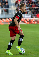 WASHINGTON, DC - MARCH 07: Russell Canouse #4 of DC United starts an attack during a game between Inter Miami CF and D.C. United at Audi Field on March 07, 2020 in Washington, DC.