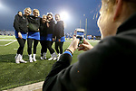 SIOUX FALLS, SD - OCTOBER 25: The Sioux Falls Christian Chargers cheerleaders have some fun and pose for a photo before kickoff between the Chargers and the Winner Warriors Thursday night at Bob Young Field in Sioux Falls. (Photo by Dave Eggen/Inertia)