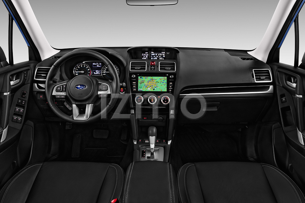Stock photo of straight dashboard view of a 2017 Subaru Forester Premium 5 Door SUV